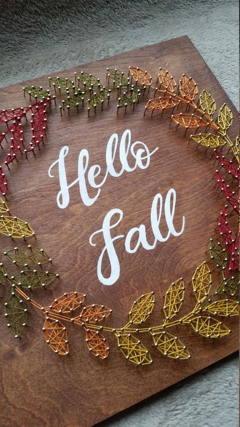 Items similar to Fall Wreath String Art, Hello Fall Decor on Etsy Nail String Art, String Crafts, Diy Wall Art, Diy Art, String Art Patterns, Arts And Crafts, Diy Crafts, Autumn Painting, Autumn Crafts