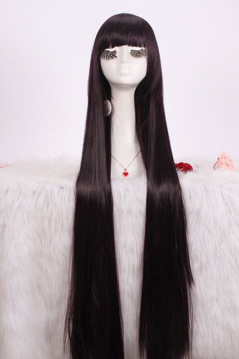 100cm Long Purple Black Cosplay Wig Shirakiin Ririchiyo Straight