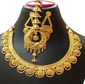 22K Gold Plated Designer Necklace Earrings Indian Wedding Jewelry Sale Price R