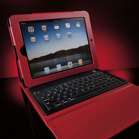 Elegant case covers, protects--and turns your iPad tablet into a laptop with the wireless Bluetooth keyboard.