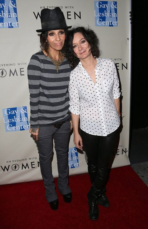 "Pin for Later: Same-Sex Celebrity Couples Say ""I Do"" Sara Gilbert and Linda Perry"