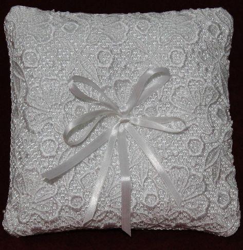 Cuscini Porta Fede.Cuscino Portafedi Con Pizzo Macrame Per Cerimonia Bianco Cuscini