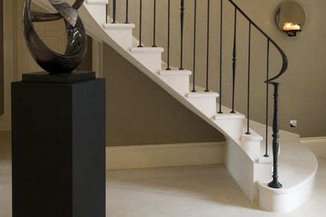 This Helical Moleanos Stone Staircase Features A Unique Large Shaped Bottom Tread Designed To Compliment Our Client S Property In Surrey Staircase