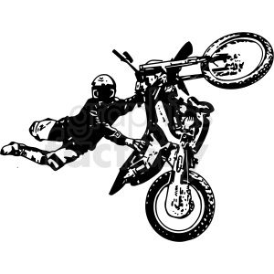 Black And White Motocross Rider Doing Tricks Vector Illustration Clipart Royalty Free Clipart 412604 In 2020 Vector Illustration Clip Art Motocross Riders