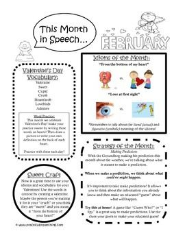 Practically Speeching: February Speech Newsletter is up! FREEBIE! Pinned by SOS Inc. Resources. Follow all our boards at pinterest.com/sostherapy/ for therapy resources.