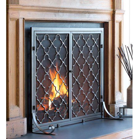 Small Geometric Fireplace Fire Screen With Doors Bronze Walmart Com Fireplace Screens With Doors Fireplace Doors Fireplace Screens
