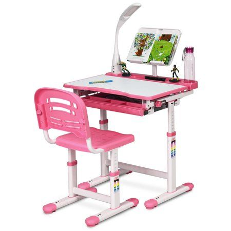 Gymax Height Adjustable Kids Desk Chair Set Study Drawing W Lamp Bookstand Pink Walmart Com Desk And Chair Set Adjustable Height Desk Chair Kids Desk Chair