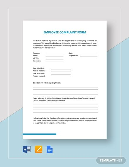 Employee Complaint Form Employee Complaints Complaints Employee