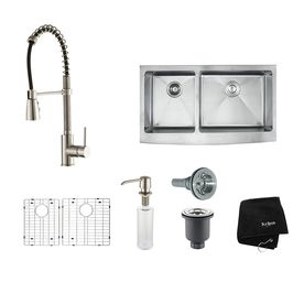 Kraus Kitchen Combo 20 75 In X 32 9 In Stainless Steel Double Basin Ap Stainless Steel Apron Double Basin Kraus