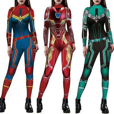 The Avenrgers Captain Marvel Jumpsuit Cosplay One-piece Costume Bodysuit