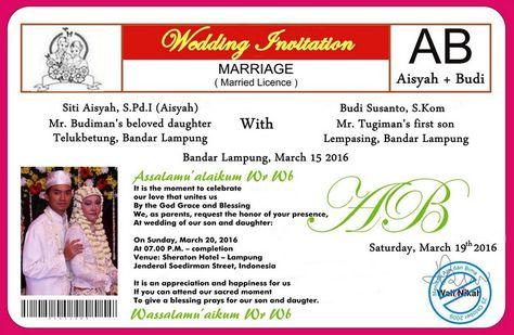Contoh Surat Undangan Pernikahan Dalam Bahasa Inggris