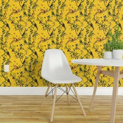 Peel And Stick Removable Wallpaper Yellow Monkey Chinoiserie Jungle Tree Plant Ebay Removable Wallpaper Wallpaper Jungle Tree