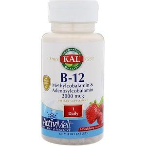 Kal B 12 Methylcobalamin Adenosylcobalamin Mixed Berry 2 000 Mcg 60 Micro Tablets Green Grapes Nutrition Organic Recipes Natural Flavors