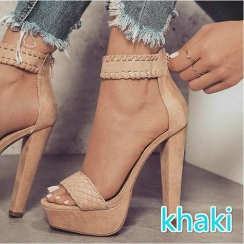 67e58f91e047 Fashion Female Sandals Summer Faux Suede Women s High Heel Shoes High Heels  Party Rome Women Sandals Plus Size 34-43
