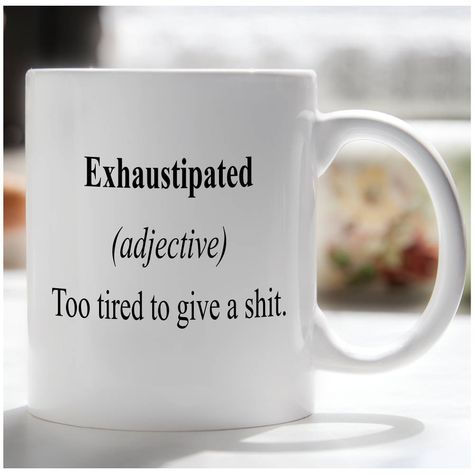 funny coffee mugs Exhaustipated Coffee Mug, Funny Coffee Mug, College Mug, Office Coffee Mug Design is printed on both sides of this 11 ounce ceramic mug. We use high quality sublimat Coffee Mug Quotes, Coffee Humor, Coffee Mugs, Funny Cups, Funny Coffee Cups, Gifts For New Dads, College Gifts, Cute Mugs, Mug Shots