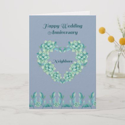 Wedding Anniversary Card For Neighbors In Blue Zazzle Com Wedding Anniversary Cards Anniversary Cards Wedding Cards