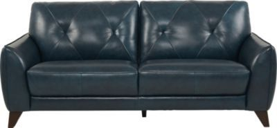Salviano Blue Leather Sofa | living room | Best leather sofa ...