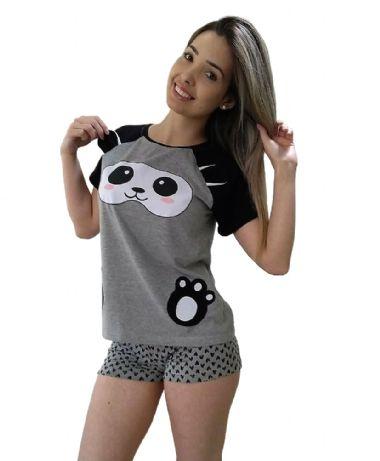 5165d97382a232 Pijama Feminino Curto Panda   Adoro Pijamas  