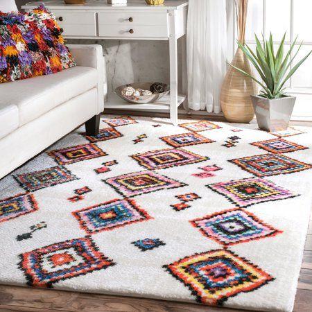 Moroccan Aztec Mittie Shaggy Area Rug Or Runner Walmart Com Moroccan Home Decor Rugs Area Rugs