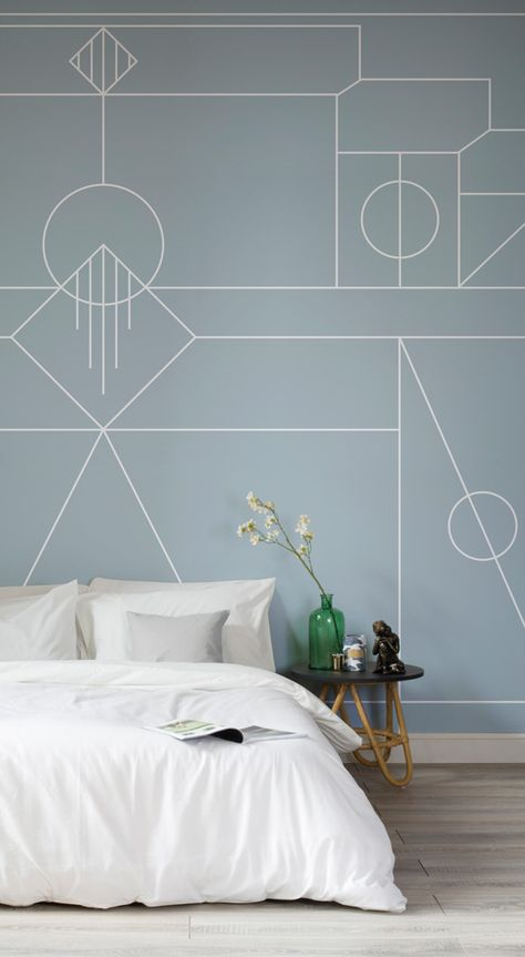 A modern take on Art Deco styling. This wallpaper design combines an on-trend pastel turquoise with playful white lines, creating movement on your walls! Pair with simple white bedding to let your mural shine.