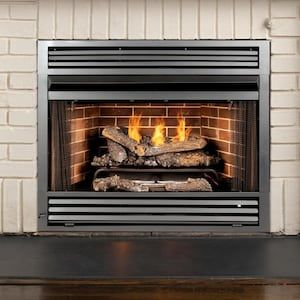 Pleasant Hearth 32 19 In W Black Vent Free Gas Fireplace Firebox
