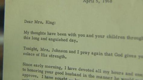 LBJ letter to Martin Luther King Jru0027s widow sells for $60,000 - condolence letter