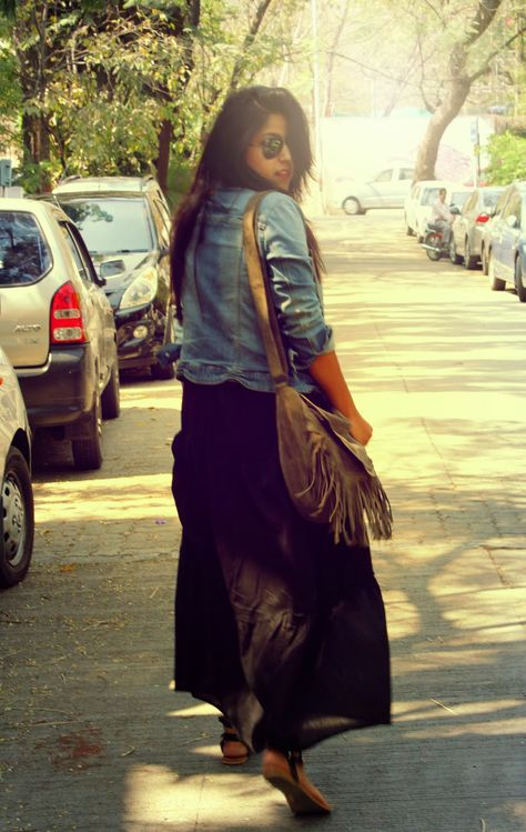 Maxi Dress with a denim jacket and tasseled, suede bag!