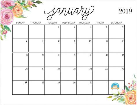 Free Cute Printable January 2019 Calendar Januarycalendar