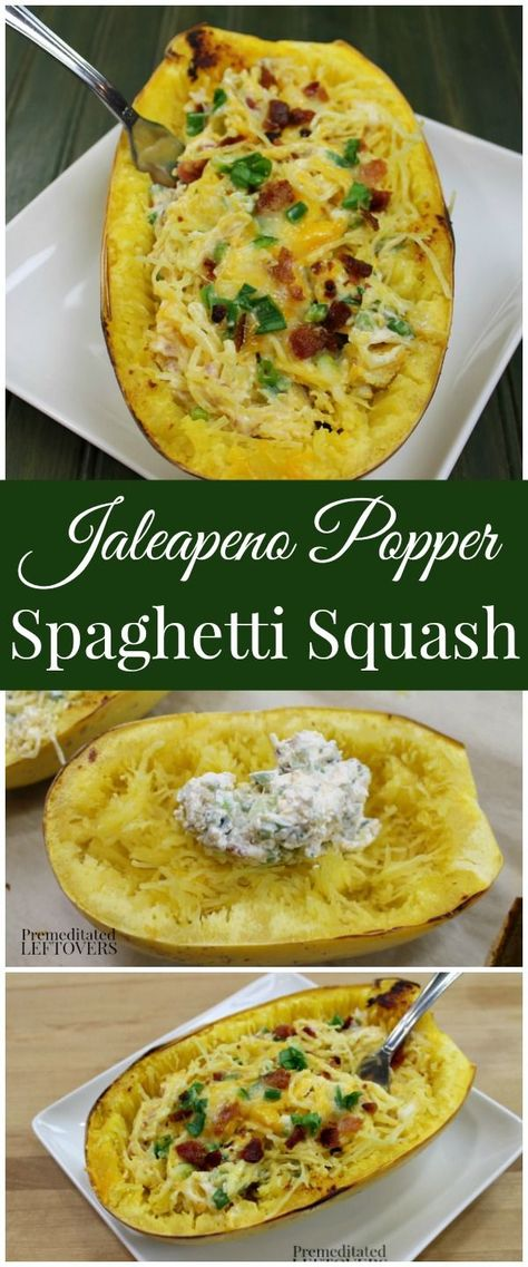Easy Jalapeno Popper Spaghetti Squash Recipe!If you like Jalapeno Popper Dip, you will love this delicious Jalapeno Popper Stuffed Spaghetti Squash Recipe! Serve it directly in the spaghetti squash.