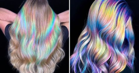 Holographic hair is the newest trend. The dye uses different tones to achieve a multi-dimensional effect. Its ethereal vibe is somewhat magical.