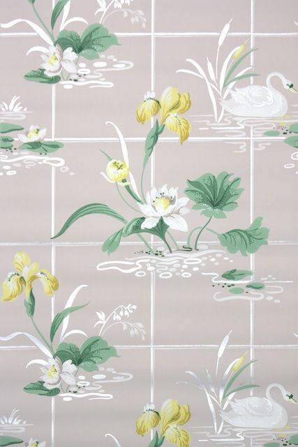 Vintage Bathroom Wallpaper With Swans And Yellow Flowers Vintage
