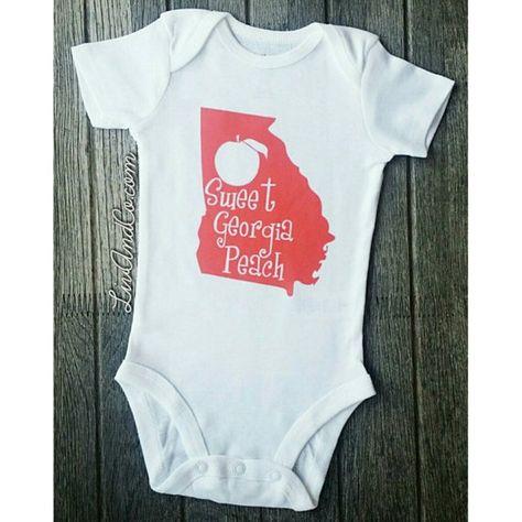 becc293a Infant Newborn Baby Girl Clothes, Outfits, Clothing, Georgia Peach Shirt, Baby  Girl Bodysuit, Newbor