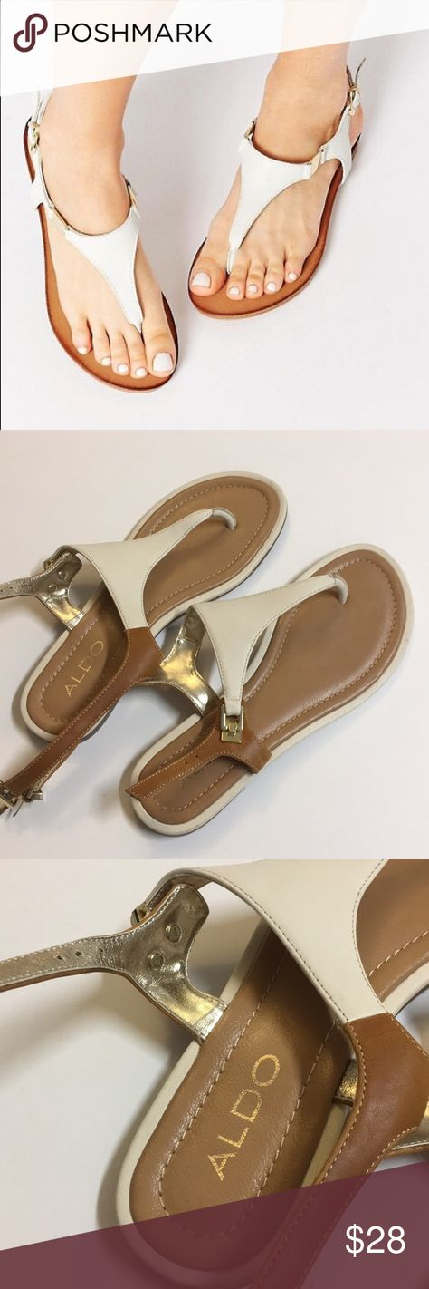 5adb56d3371 ALDO Bellia White Leather Thong Flat Sandals NWT • Aldo Sandals Aldo Shoes  Sandals