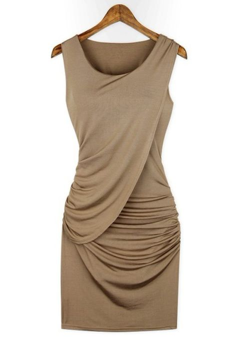 Khaki Plain Pleated Collarless Skinny Stretch Fabrics Dress