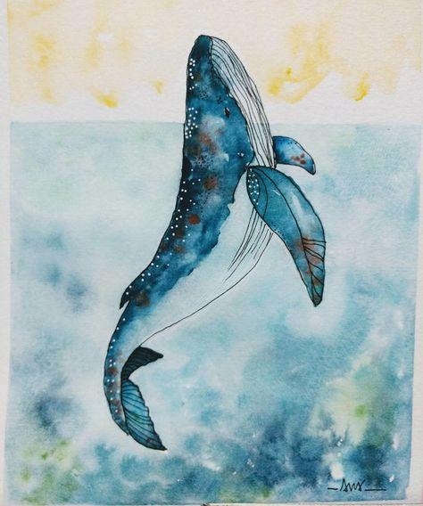 Baleia em aquarela DE VERDADE! NÃO É IMPRESSÃO! no Elo7 | Artes da Cris Handmade (ACD930)