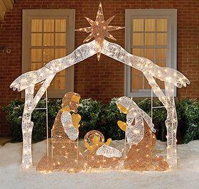 Illuminated Nativity Scene Celebrates The True Meaning Of The Season Silhouette Style Manger Scene Feat Outdoor Nativity Scene Outdoor Nativity Christmas Yard
