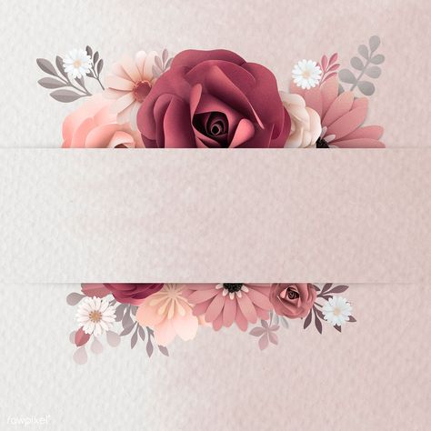 Red paper craft flower banner illustration | premium image by rawpixel.com / ploy
