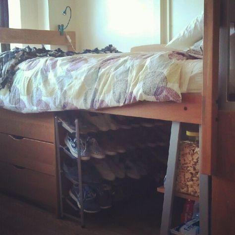 Dorm room hacks - love the organization under the lofted bed