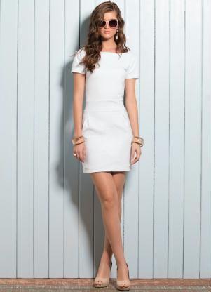 651c70548314 Vestido Curto com Detalhe de Pregas (Branco) | My Dream Closet ...