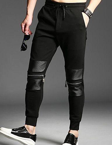 067a22df3 Hombre Casual Tiro Medio Microelástico Chinos Pantalones,Un Color Invierno  Otoño 6394772 2018 – $21.99
