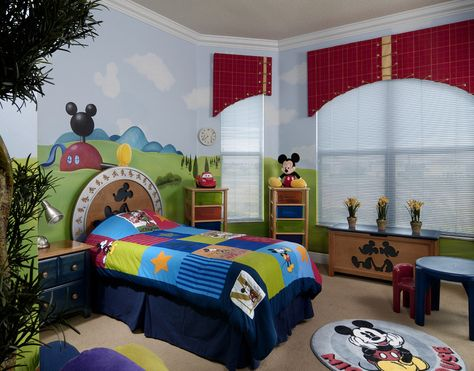 Mickey Mouse Bedroom - everything is playful and proportioned. Each detail was chosen to pay tribute to the most famous four-fingered mouse.