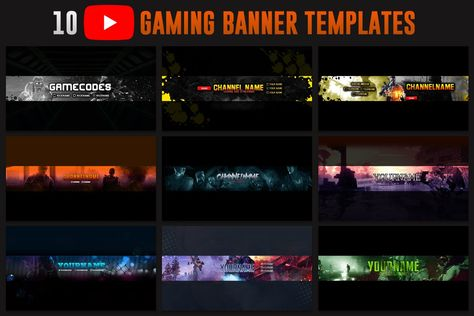 10 Gaming Youtube Banner Template Youtube Banner Template Gaming Banner Gaming Banner Template