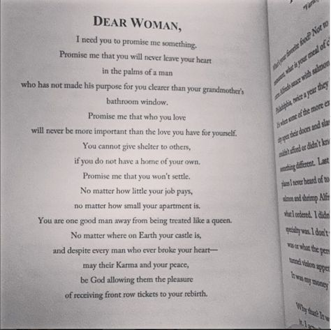 Dear woman quote | Woman quotes, Book quotes, Who you love