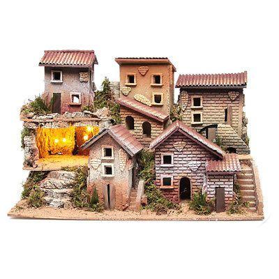 Borgo presepe illuminato con grotta 33x60x25 cm | Presepe, Vecchio