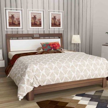 Akron Crystal King Size Bed Beige Compressed Wood King Size Bed Bed Beige Bed