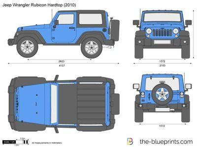 Jeep Wrangler Rubicon Hardtop Vector Drawing Carros Carro De