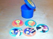 Pogs Caps Lot of 5 Orange Crush Looney Tunes + Plastic