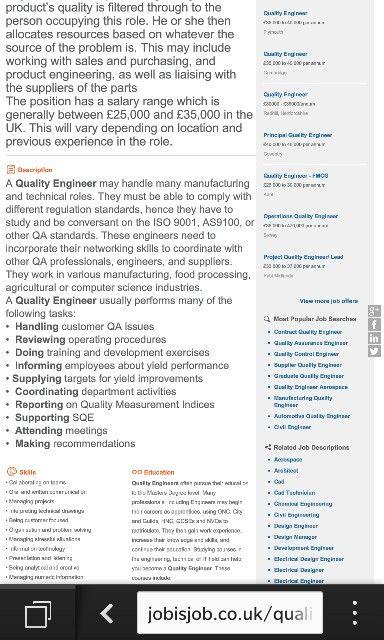 Job description quality engineer Pinterest Job description - quality engineer job description