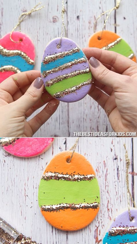 SALT DOUGH EASTER EGGS - love this simple and easy recipe for making salt dough Easter eggs! You can hang these on your Easter tree.