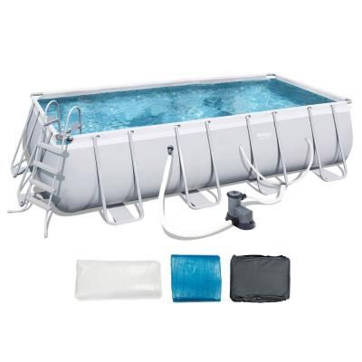 Bestway 9 Ft X 18 Ft X 48 In Deep Steel Metal Framed Rectangular Above Ground Hard Sided Swimming Pool 56536e Bw The Home Depot Above Ground Pool Rectangular Swimming Pools In Ground Pools